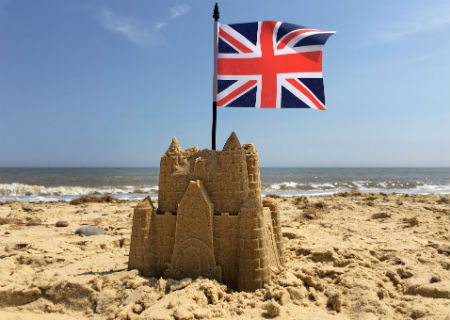 Union Jack in a sand castle