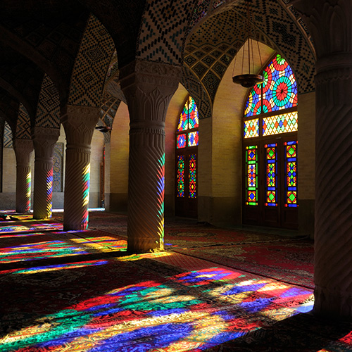Light coming through church mosaic windows