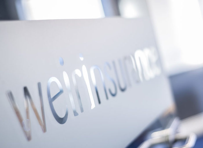 Weir Insurance on frosted glass