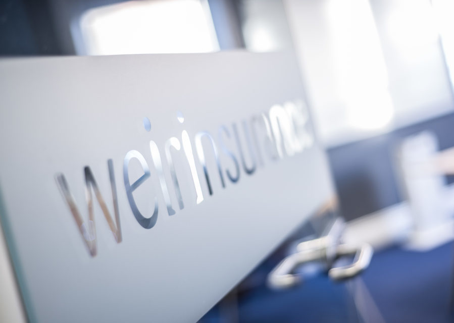 Weir Insurance frosted glass