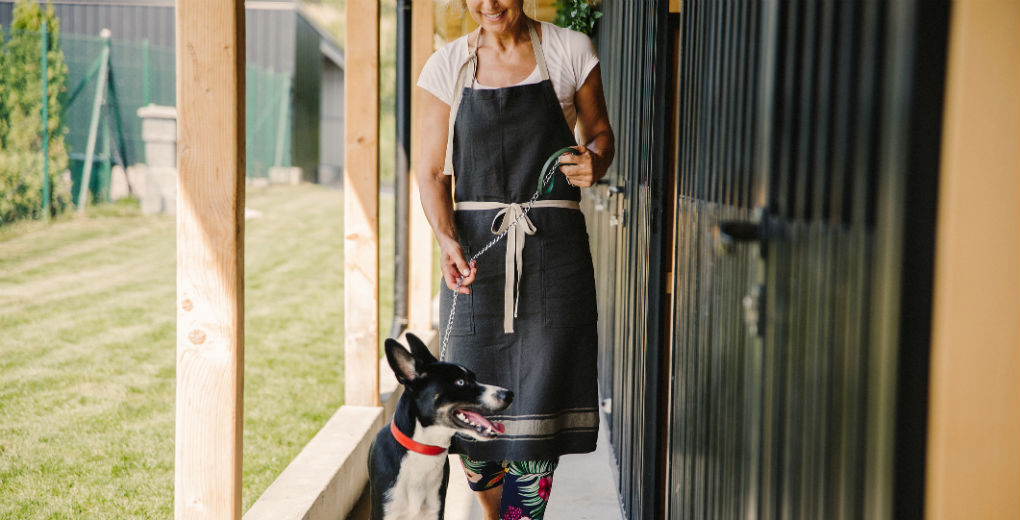 Woman looking after happy dog in boarding kennel to reflect kennel and cattery insurance in Northumberland and Newcastle